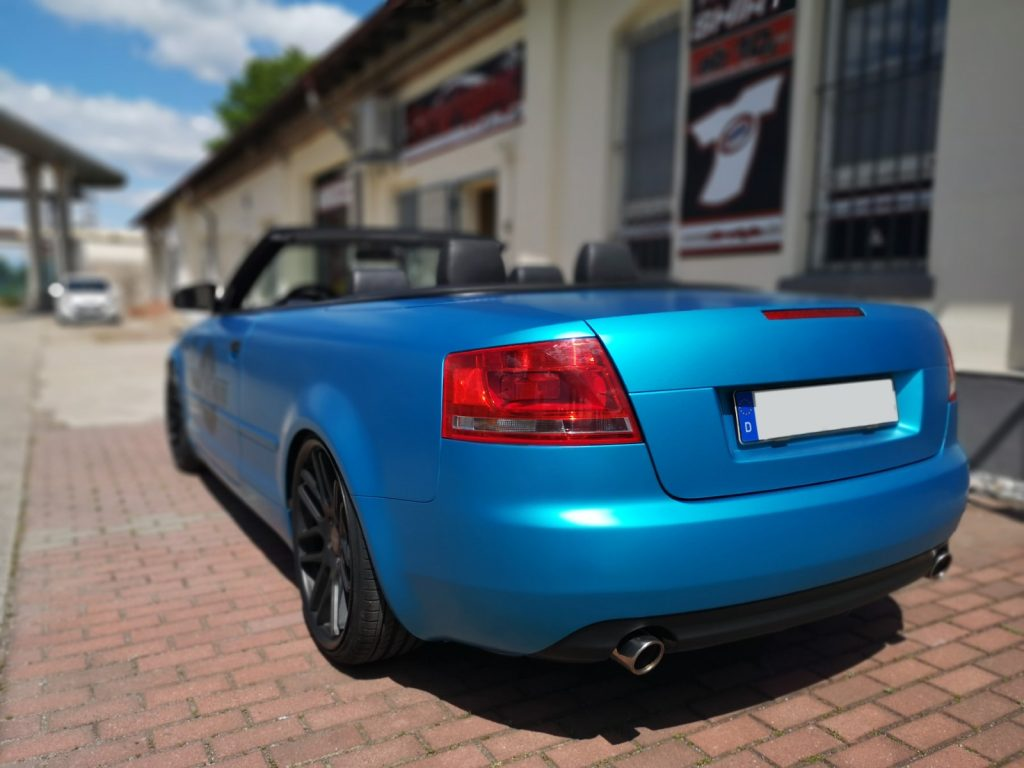 folieren Auto Carwrapping Audi A4 Cabrio 3M satin Ocean Shimmer, blau