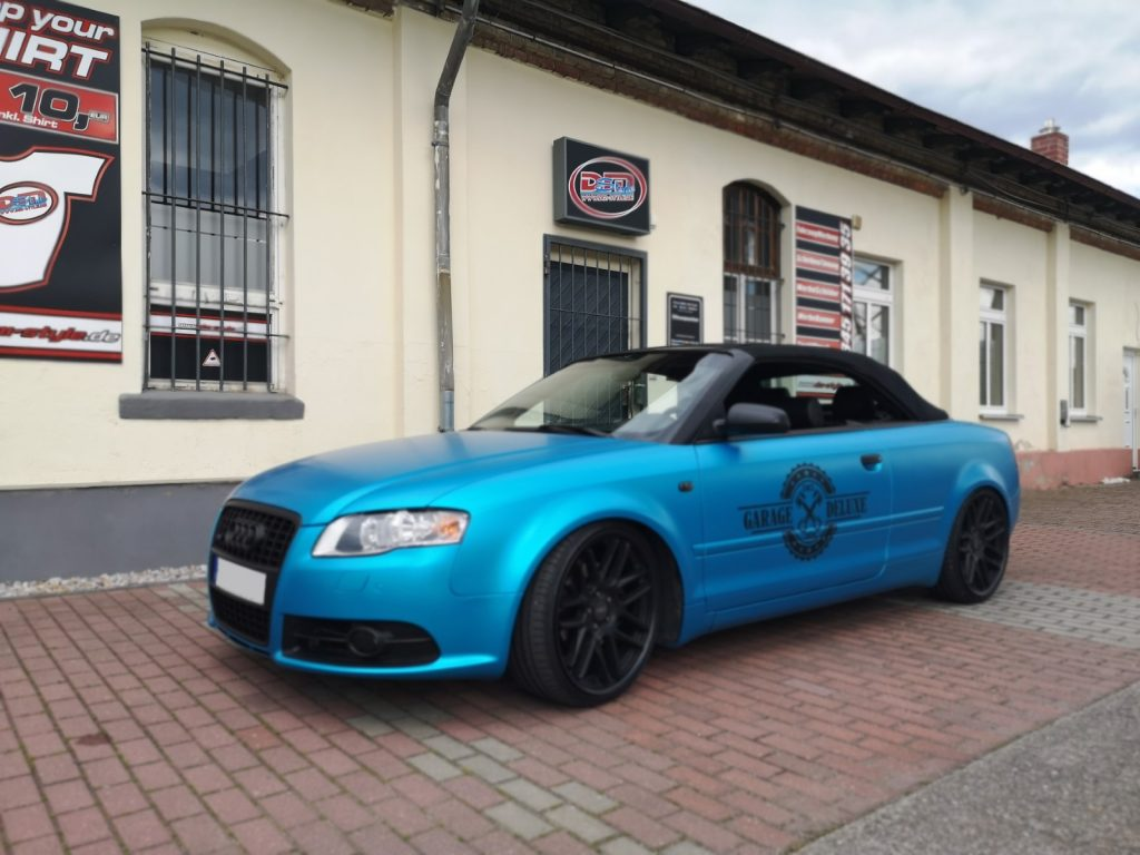"folieren Auto, Carwrapping Audi A4 Cabrio 3M satin Ocean Shimmer ""GARAGE DELUXE"""