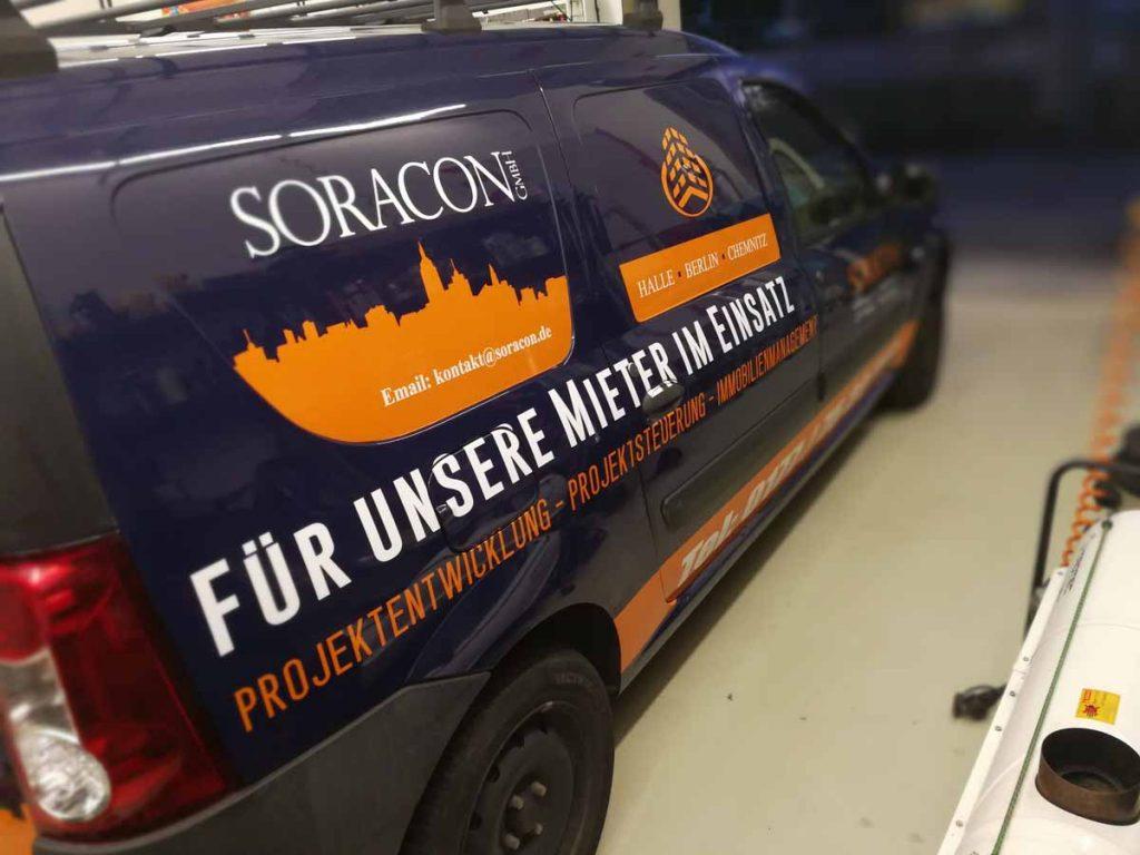 Auto folieren, Autofolierung, Fahrzeugbeschriftung Dacia Logan Kombi SORACON GmbH