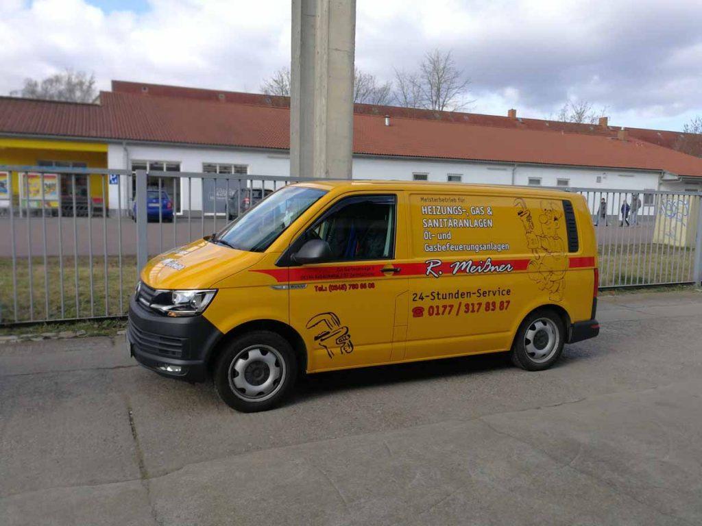 Auto folieren, Autofolierung, Autowerbung, Fahrzeugwerbung, Beschriftungen, VW Transporter, Heizung & Sanitäranlagen R. Meißner