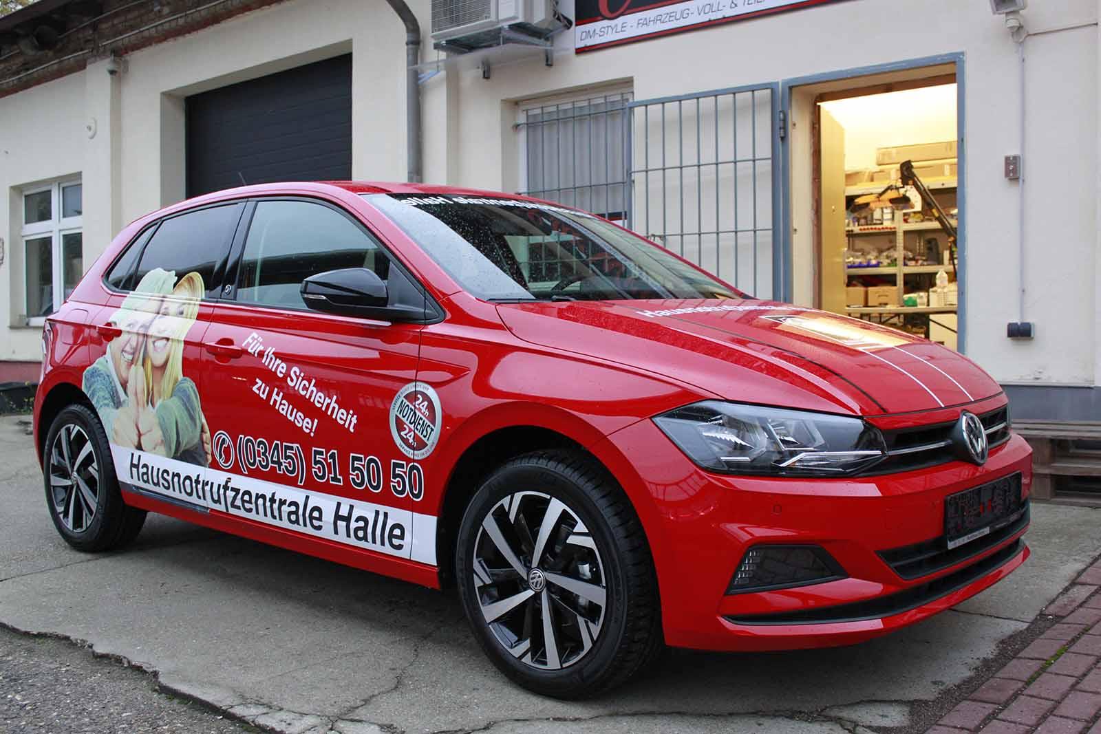 Auto folieren, Autofolierung Halle, Autowerbung, Fahrzeugwerbung VW Polo rot