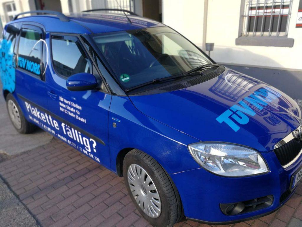 Autowerbung, Fahrzeugwerbung, Fahrzeugbeschriftung, Skoda Roomster TÜV NORD STATION