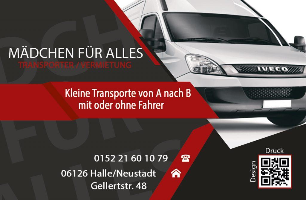 Visitenkarte, Autovermietung - Transportervermietung